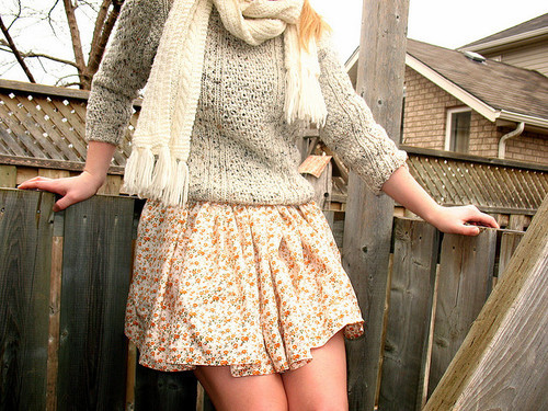 cozy, cute, fashion, knitted, scarf, skirt, sweater, warm, winter