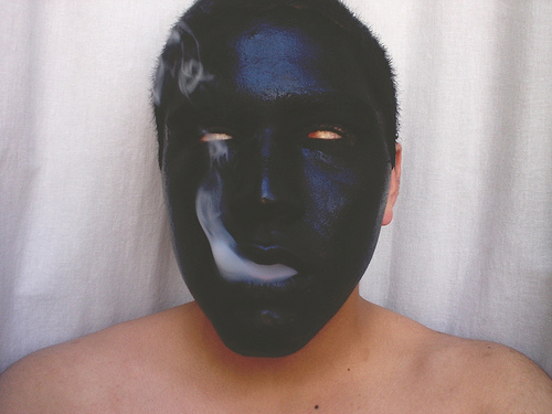 creepy, mask, smoke