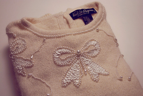 cute, jumper, loop, pearls, pretty, ribbon, sweather, warm, winter