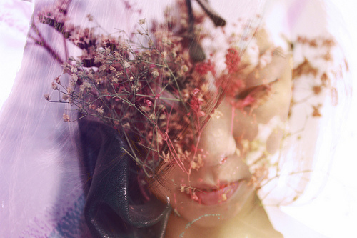 delicate, double exposure, pastels, soft
