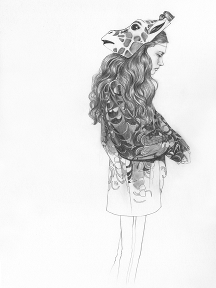 drawing, giraffe, girl, pencil