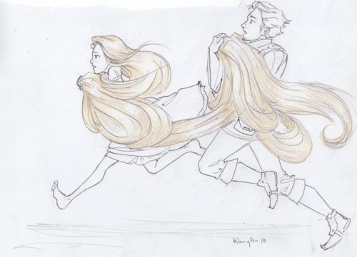 eugene, flynn rider, long hair, rapunzel, tangled