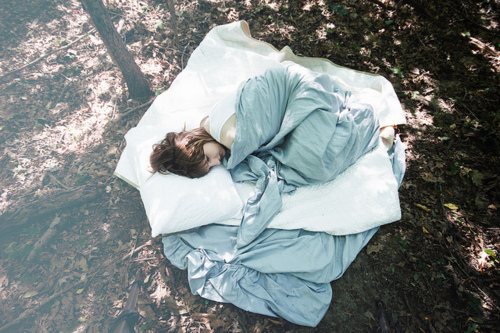 forest, girl, nature, sleeping, trees, woods