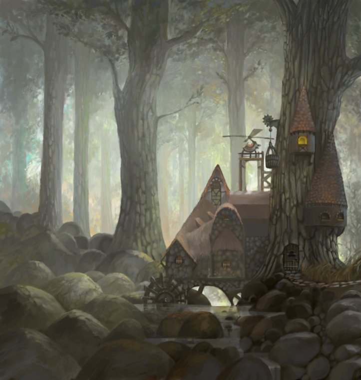 forest, house, light, painting, rocks