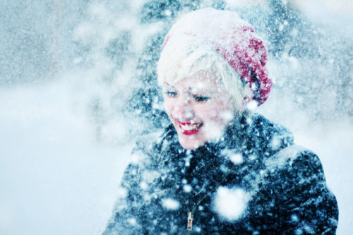 girl, happy, lipstick, red, snow, snowflakes, snowing, winter