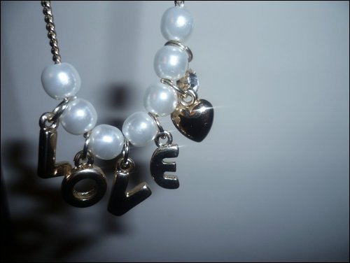 gold, heart, jewellery, letters, love, necklace, pearls, shadow, white