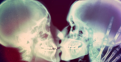 kiss, skeleton, skeletons, touch, xray
