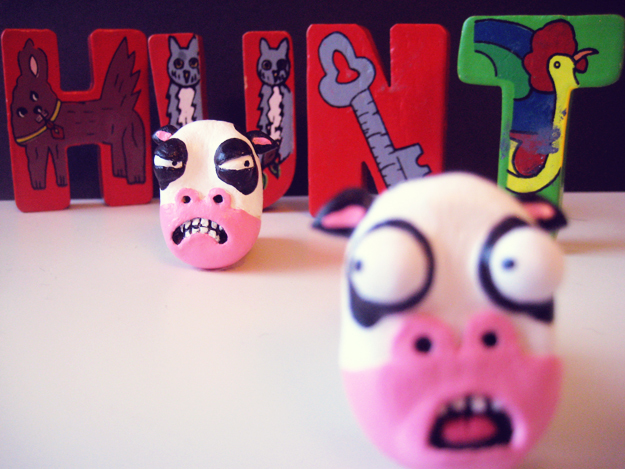 afraid, anger, angry, cow, cows, cute, evil, face, faces, fear, fun, funny, hunt, letters