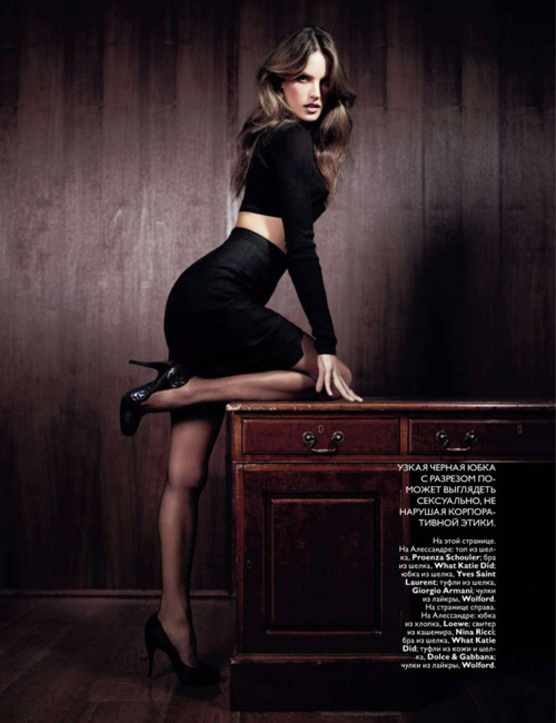 alessandra ambrosio, black, brown, dress, heels, how to work, legs, office, september 2010, sexy, table, vogue, vogue russia, willy vanderperre, wood