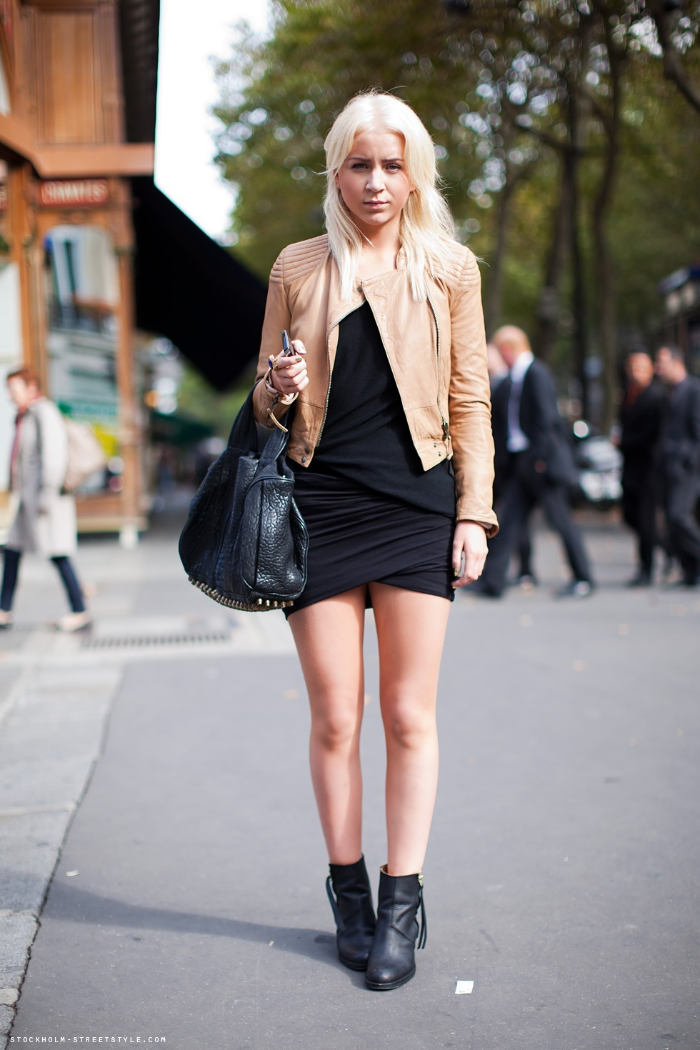 alexander wang, bag, beige, black dress, blonde