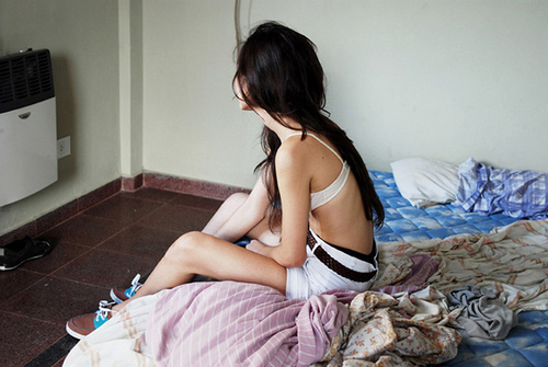 alone, bed, bedroom, bra, girl, hair, happy, mess, room, shorts