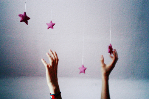analog, cute, film, hands, pink, stars