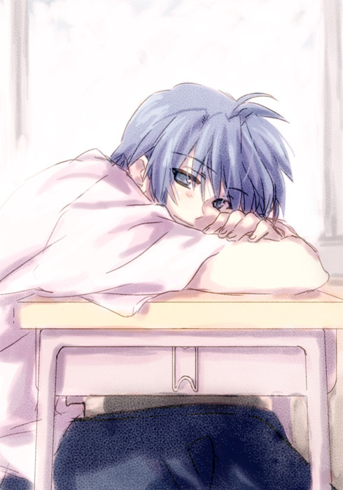anime, boy, clannad, okazaki, sad