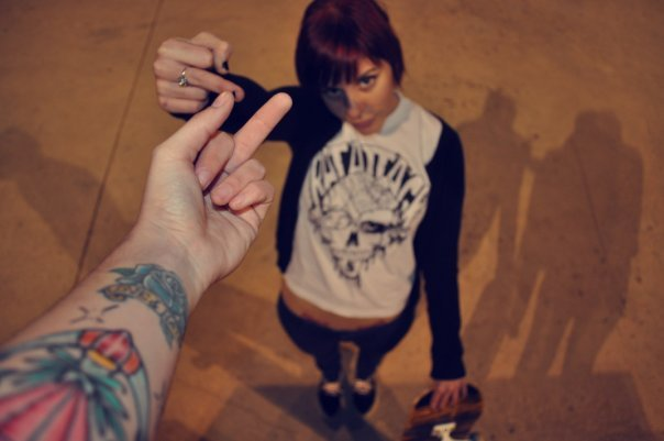 arm, finger, fuck, fuck you, girl, girls, hand, hands, skate, skater, tattoo, tattoos