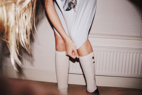 art, blond, cool, famle, girl, hand, hands, house, legs, photo, photography, room, shoes, skinny, skinny legs, socks, t-shirt, window