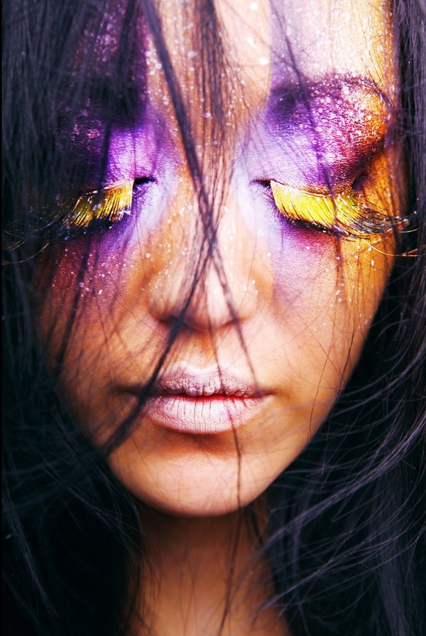 art, eyelashes, face, girl, glitter, make up, purple