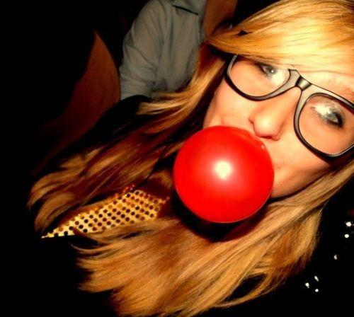artsy, blonde, bubble, bubblegum, glasses, red