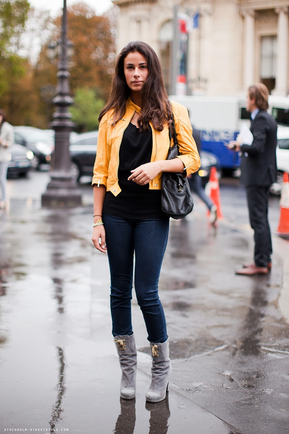 bag, boots, brunette, denim, fashion