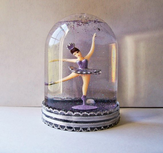 ballerina, pretty, purple, snow globe