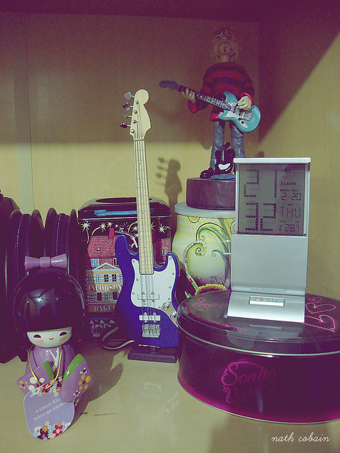 bass, cans, chocolate, clock, guitar