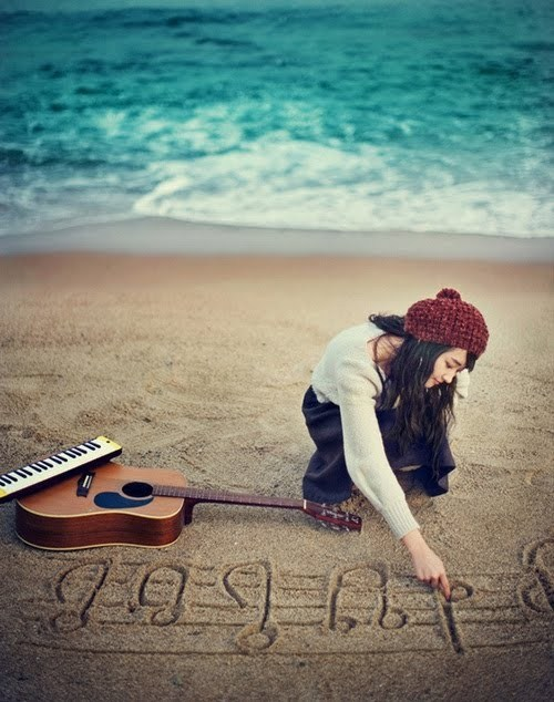 beach, cute, girl, guitar, ice cream