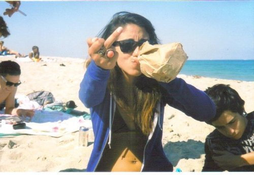 beach, girl, middle finger, slut