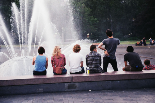 beautiful, boy, crazy, fountain, friend