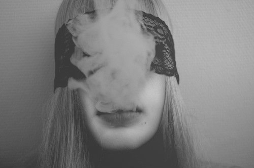 black and white, blond, cigarette, girl, smoke