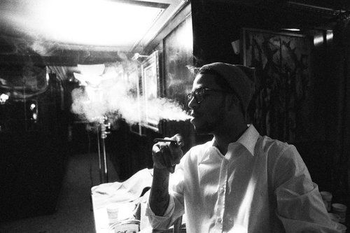black and white, boy, cigarette, hot, kid cudi, rapper, smoke, that is not a cigarette