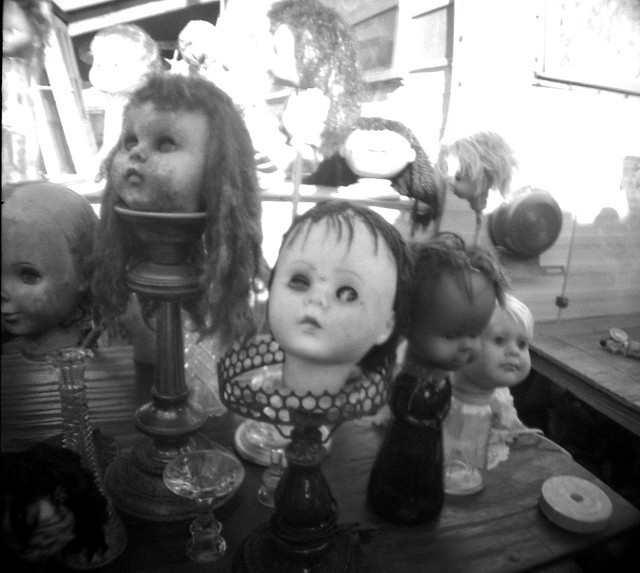 black and white, creepy, dolls, scary