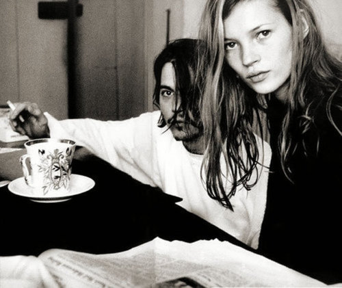 black and white, johnny depp, kate moss, photo, photography
