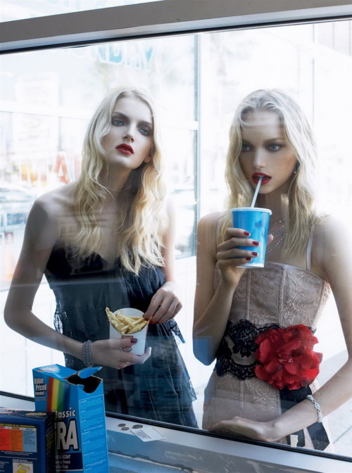 black, blonde, chips, dress, drink, eyes, flower, flowers, hair, lips, model, models, pale, pink, pretty, simple, skinny, take away, take out, thin, twins, yum yum