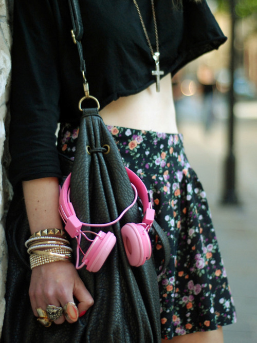 black, colorful, cute, fashion, girly, headphones, shirt, skirt