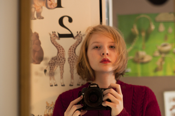 blonde, camera, girl, lipstick, nikon, vintage