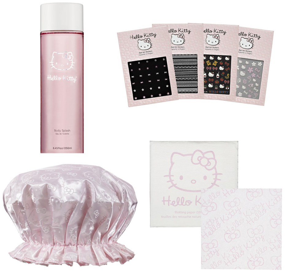 blotting papers, body splash, cosmetics, hello kitty, hello kitty beauty