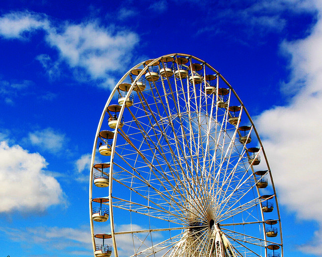 blue, clouds, ferris wheel, france, fun