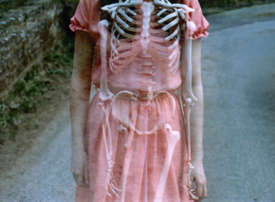 bones, dress, katieoak, morbid, pink, skeleton, vintage