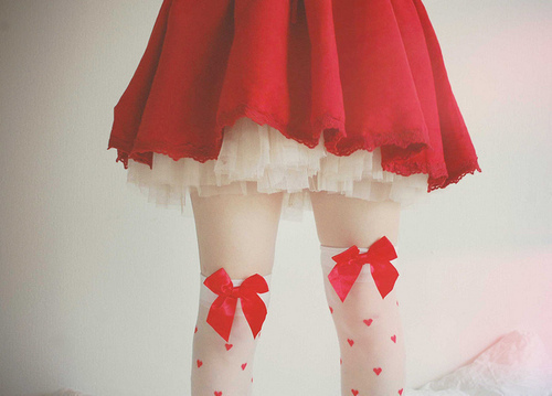 bow, dots, girl, legs, red