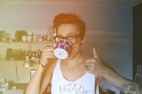 boy, coffee, coffee mug, cute, glasses, lussetti, male, morning, skinny, style, tattoo