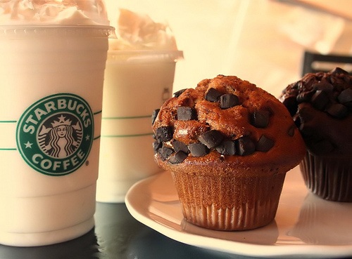 breakfast, chocolate, muffin, starbucks