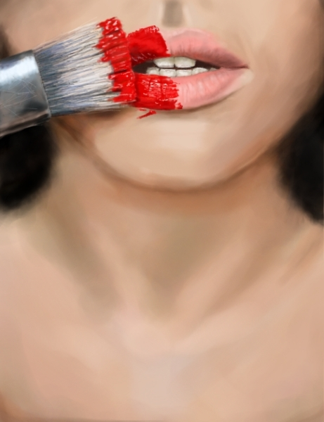 brush, girl, lips, paint, paintbrush, red, red lips