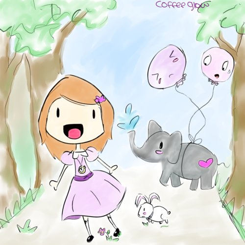 bunny, cute, elephant, forest, girl