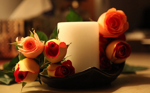 candle, flower, love, romance, roses