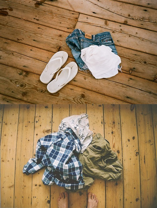 cargo, clothes, denim, feet, flip flops, floor, girl, guy, hollister, plaid, shorts, tan, white, wood