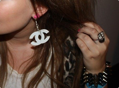 chanel, cute, earing, fashion, girl, pink, white