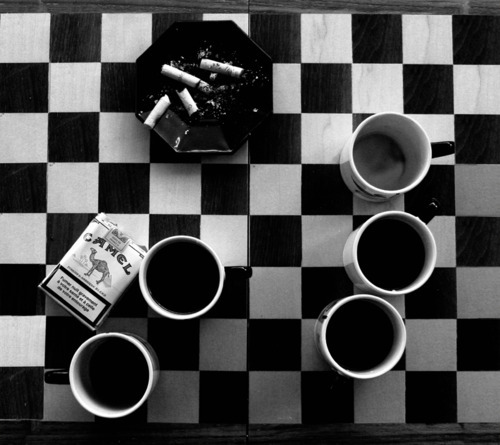 chess, cigarettes, coffe, grade