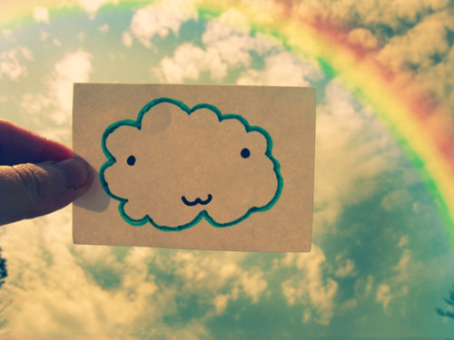 cloud, paper, rainbow, smile