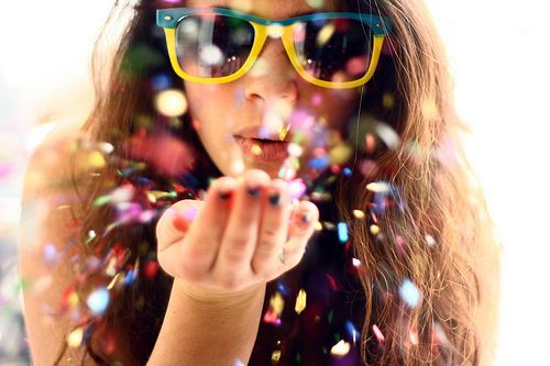 color, confetti, girl, sunglasses