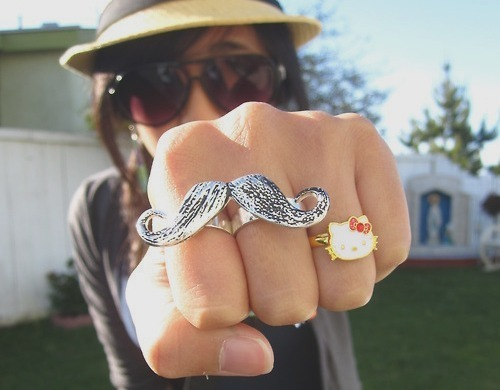 connector rings, mustache, rings