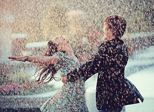 couple, dancing, love, rain
